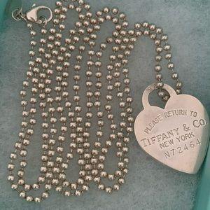 Tiffany & Co dog tag bead heart chain 34 in